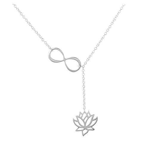 - Elegant Silver plated Diamond Accent Tree Leaf Flowers Pendant Necklace,Collarbone Charm Necklace & Silver 1 (lotus)