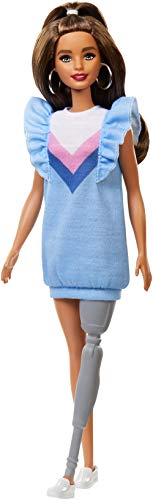 ​Barbie Fashionistas Doll with Long Brunette Hair and Prosthetic Leg Wearing Sweater Dress and Accessories, for 3 to 8 Year Olds