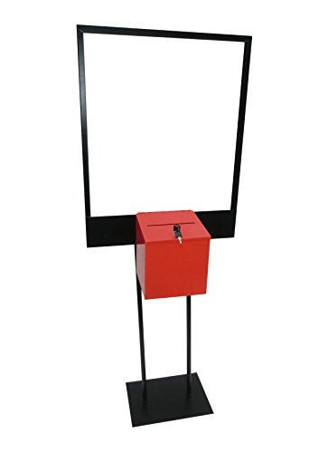 Fixture Displays Stand, Bulletin Poster Donation Ballot Collection with Red Metal Box 11063+10918-RED by FixtureDisplays