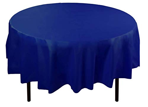 6-Pack Premium Plastic Tablecloth 84in. Round Plastic Table cover - Navy]()