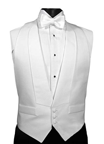 Mardi Gras White Cotton Pique Full Back Tuxedo Vest and Pre Tied Bow Tie Size Large