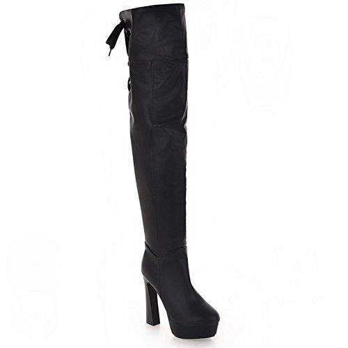 LongFengMa Women's High Heel Over Knee Boots Lace Up Platform Shoes Balck