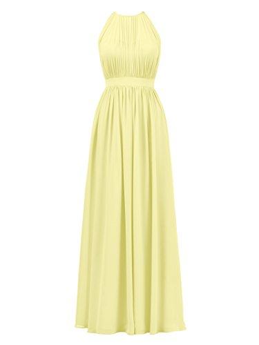 Alicepub Halter Illusion Bridesmaid Dress Chiffon Formal Evening Prom Gown Maxi, Yellow, US16