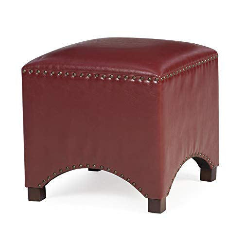 Home Collection Red Contemporary Bonded Leather Square Ottoman Footstool with Nailhead -