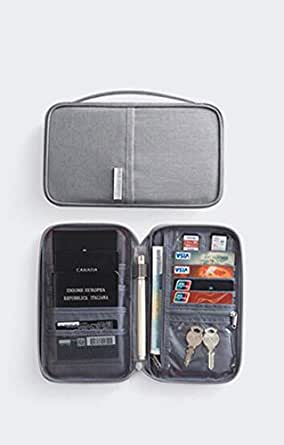 Travel Wallet Passport Holder, Family Waterproof Document Organizer Fits Credit Cards, Phone and Tickets, Stylish Light weight with Hand Strap. (Gray) Dream Travel By Cloudin
