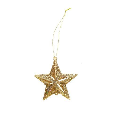 Bulk Buy: Darice DIY Crafts Glitter Star Ornament Gold 2 ...
