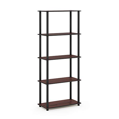 Furinno 17091DC/BK Turn-N-Tube 5-Tier Display Rack, Single, Dark Cherry/Black ()