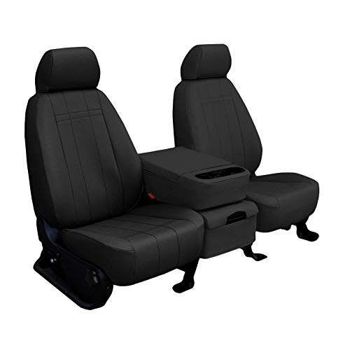 S10 Custom Interior - Front Seats: ShearComfort Custom Imitation Leather Seat Covers for Chevy S10 Pickup (1998-2005) in Black for 60/40 Bottom w/High Bucket Backs and Console