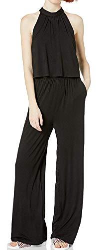 BB Dakota Womens one on one rayon spandex jumpsuit, black medium