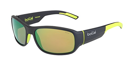 - Bolle Heron Matte Dark Grey Yellow 12380 Sunglasses Polarized Brown Emerald M