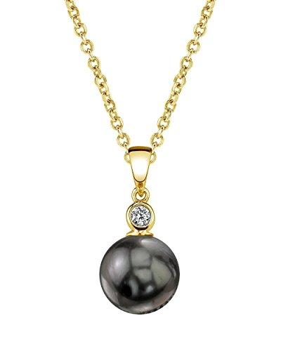 14K Gold Tahitian South Sea Cultured Pearl & Diamond Michelle Pendant (Tahitian South Sea Diamond)