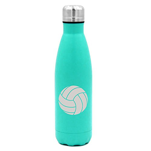 17 oz. Double Wall Vacuum Insulated Stainless Steel Water Bottle Travel Mug Cup Volleyball (Light-Blue)