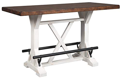Signature Design By Ashley - Valebeck Rectangular Dining Room Counter Table - Casual Style - White/Brown