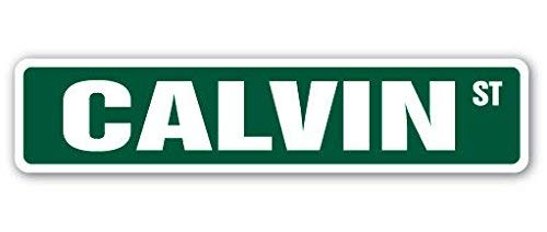 New Plastic Road Sign Great Calvin Street Sign Childrens Name Room Sign for Outdoor & Indoor 3x9 Inch