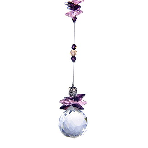 (H&D 30 mm Crystal Hanging Suncatcher Ball Prism Home Wedding Decoration Hand Crafts (Purple) )
