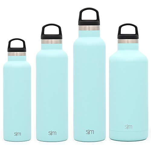 Simple Modern 32oz Ascent Water Bottle - Stainless Steel Hydro Swell Flask w/Handle Lid - Metal Double Wall Vacuum Insulated blue Reusable Tumbler Aluminum 1 Liter Cold Leak Proof - Seaside -  ASC-32-SEA