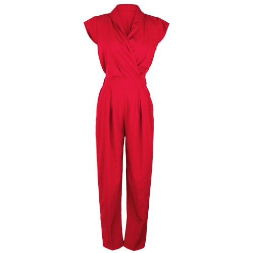 1veMoon Women's Casual V-neck Sleeveless Tunics Solid Long Jumpsuit