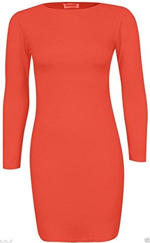 Re Tech UK - Vestido - Túnica - manga larga - para mujer Coral