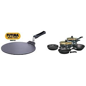 Hawkins Futura Non Stick Dosa Tawa, 33cm, Black & Futura Non-Stick Cookware, 7-Pieces, Black Combo