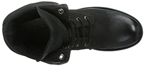 Clarks Minoa River - Botas de moto, Mujer Negro (Black Leather)