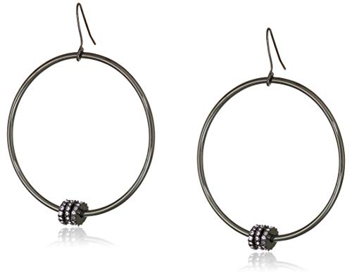 Kenneth Cole Pearl Mix Rondell Bead Large Gypsy Hoop Earrings, Hematite ()