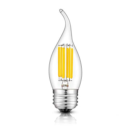 Tip Bent Clear (CRLight 3200K LED Chandelier Bulb Dimmable 6W 700LM Soft White, 70W Equivalent E26 Medium Base LED Candle Bulbs, C35 Clear Glass Flame Shape Bent Tip, 360 Degree Beam Angle)