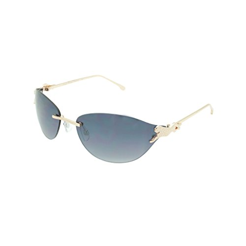 Georgio Caponi Slim Rimless Leopard Frame Aviator Oval Sunglasses (Gold Frame, ()