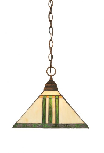 Toltec Lighting 12-BRZ-957 One-Light Chain Pendant Bronze with Green and Metal Leaf Tiffany Glass, 14-Inch
