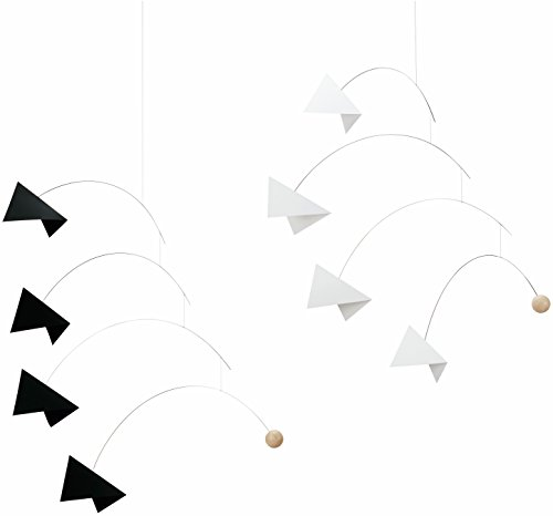- Mirage Black and White Hanging Mobile - 24 Inches Beech Wood - Handmade in Denmark by Flensted