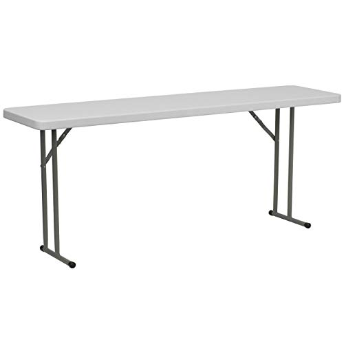 Leg Seminar Table - Flash Furniture 18''W x 72''L Granite White Plastic Folding Training Table
