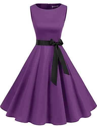 Gardenwed Women's Audrey Hepburn Rockabilly Vintage Dress 1950s Retro Cocktail Swing Party Dress Purple XS