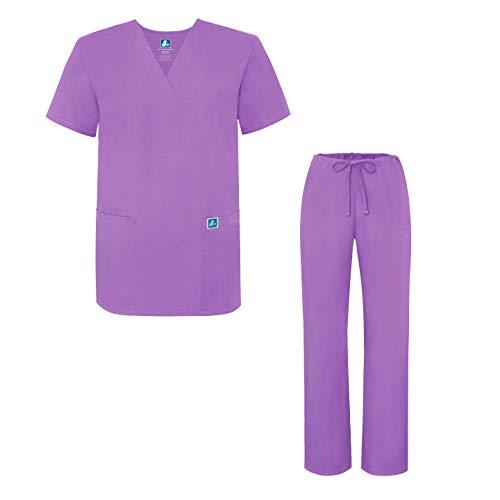 Adar Universal Medical Scrubs Set Medical Uniforms - Unisex Fit - 701 - LAV - S Lavender