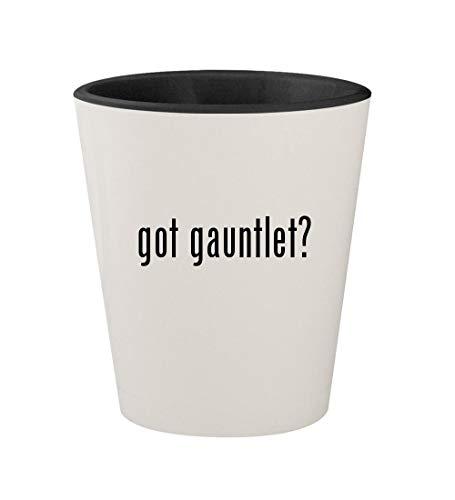 got gauntlet? - Ceramic White Outer & Black Inner 1.5oz Shot Glass