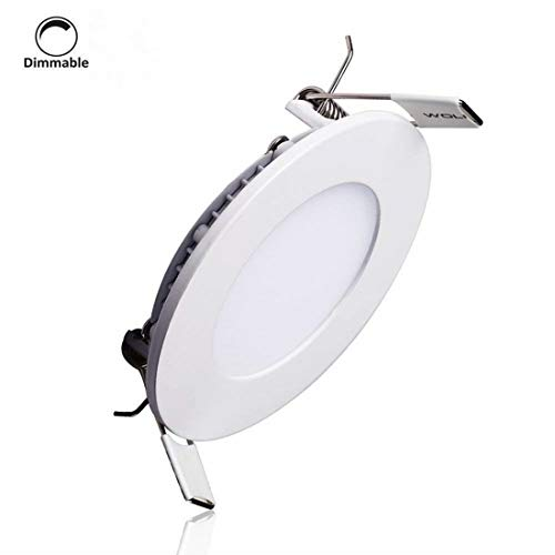 LAIN 9W LED Panel Light Fixture Dimmable Round Ultrathin Ceiling Light Fixtures,60W Incandescent Equivalent,Recessed Downlight Flat Lamp,3000K Warm White,720lm,4.9 Inch Cut Hole Home Office Lighting by LAIN