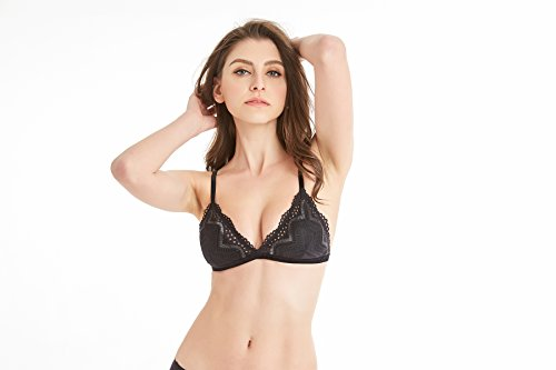 Demi Unlined Bra - GEOFEY Women Sheer Lace Bra, Demi Wireless Unlined Bralette, Mysterious and Sexy Designed(38)