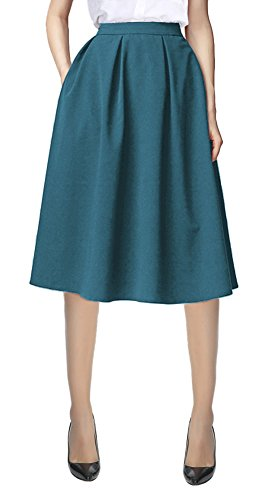 Urban CoCo Women's Flared A line Pocket Skirt High Waist Pleated Midi Skirt (S, Steel Blue)