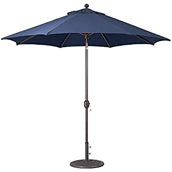 Attirant 9 Foot Galtech (Model 737) Deluxe Auto Tilt Umbrella With Antique Bronze  Frame And Sunbrella Fabric Navy (Includes Extended Frame Warrantee)