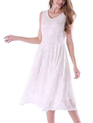 - Noctflos Summer White Semi Formal Lace Cocktail Midi Dresses for Women Wedding Guest Party