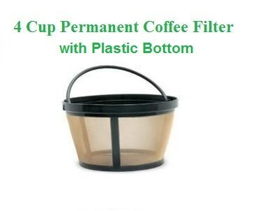 1 X 4-Cup Basket Style Permanent Coffee Filter fits Mr. Coffee 4 Cup Coffeemakers (With Handle) GoldTone NA