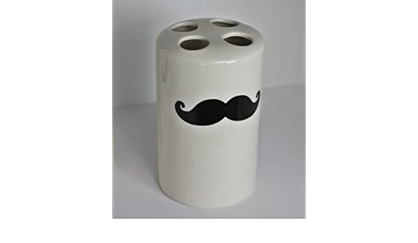 sass y Barba Bigote blanco belle vaso para cepillo de dientes de cerámica taza bigotudo, nuevo: Amazon.es: Hogar