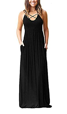 LILBETTER Women's Sleeveless Racerback and Long Sleeve Loose Plain Maxi Dresses Casual Long Dresses with Pockets