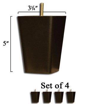 Set of 4 Chair Legs - Hardwood with Dark Walnut Finish - Dimensions: 5