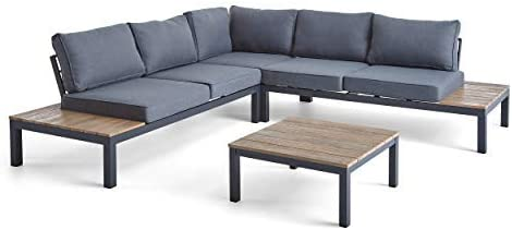 Great Deal Furniture Leo Outdoor Aluminum and Wood V-Shaped Sofa Set