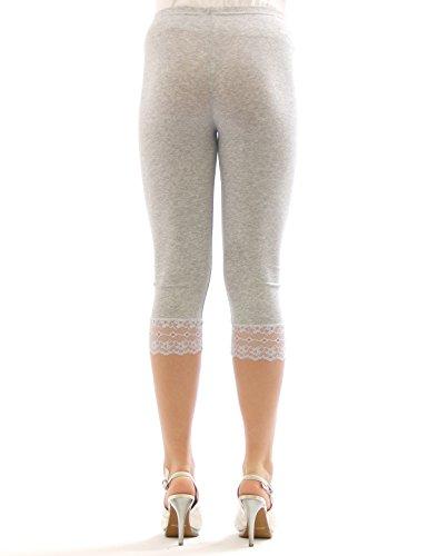 Capri 3/4 Leggings Spitze Baumwolle Damen GELB Größe L