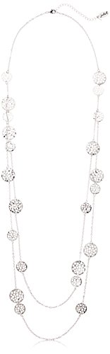 Silver Tone Double Row Long Open Discs Necklace, 37.5