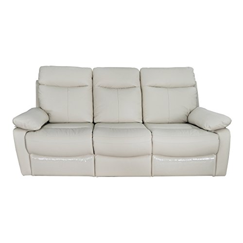 Christies Home Living Ryker Taupe Leather Contemporary Reclining Sofa