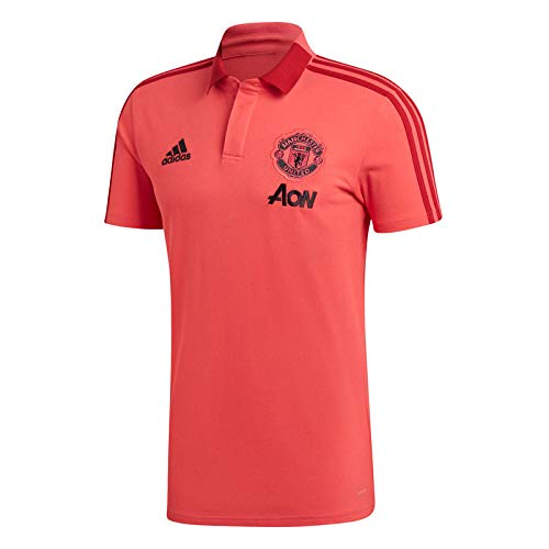 adidas 2018-2019 Man Utd Training Polo Football Soccer T-Shirt Jersey (Pink)