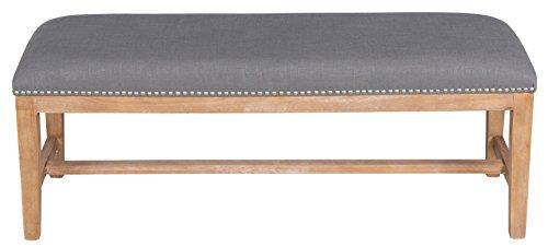 Kosas Home PL11203 Aureli Bench, Grey Upholstery/Natural Legs