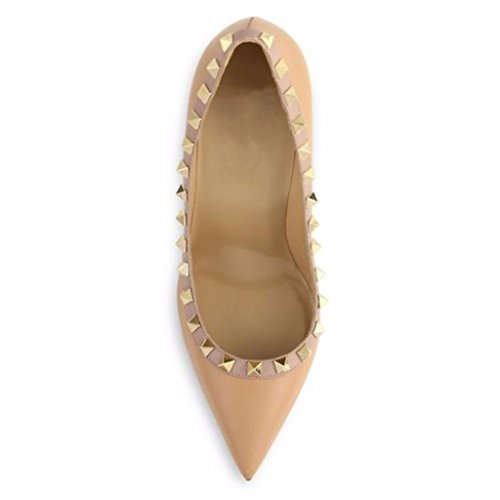 Jushee Women's Classic Pointed Toe High Heels Rivets Studded Pumps Party Dress Shoes Brown Pu ntBKmtM9p