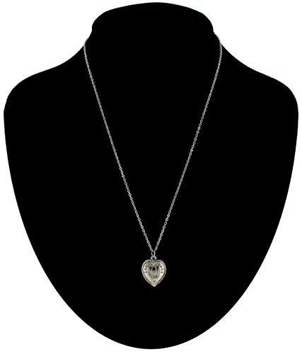 Silver Tone Chain Horse Shoe Good Luck Heart Charm Pendant For Women